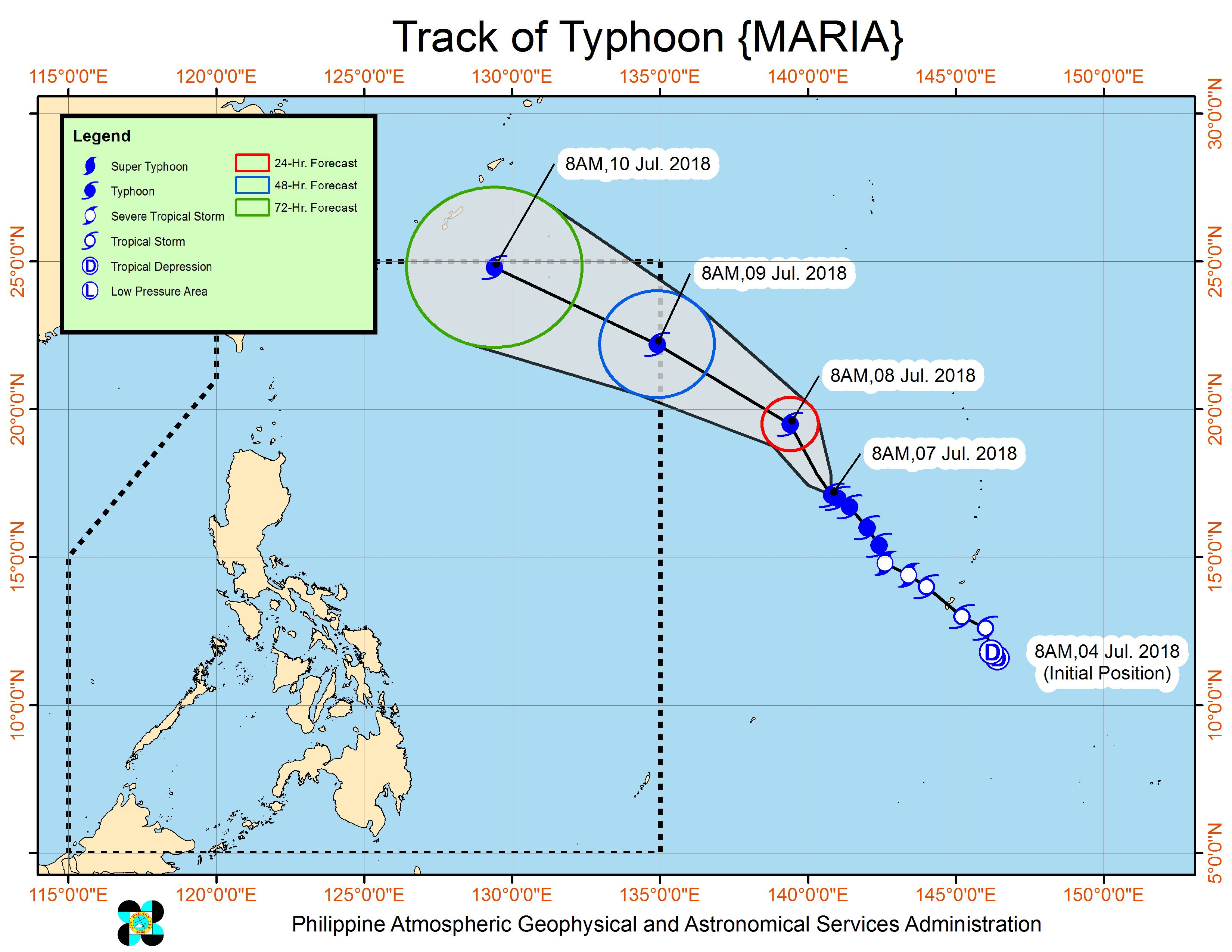 Forecast track of Typhoon Maria as of July 7, 2018, 11 am. Image courtesy of PAGASA