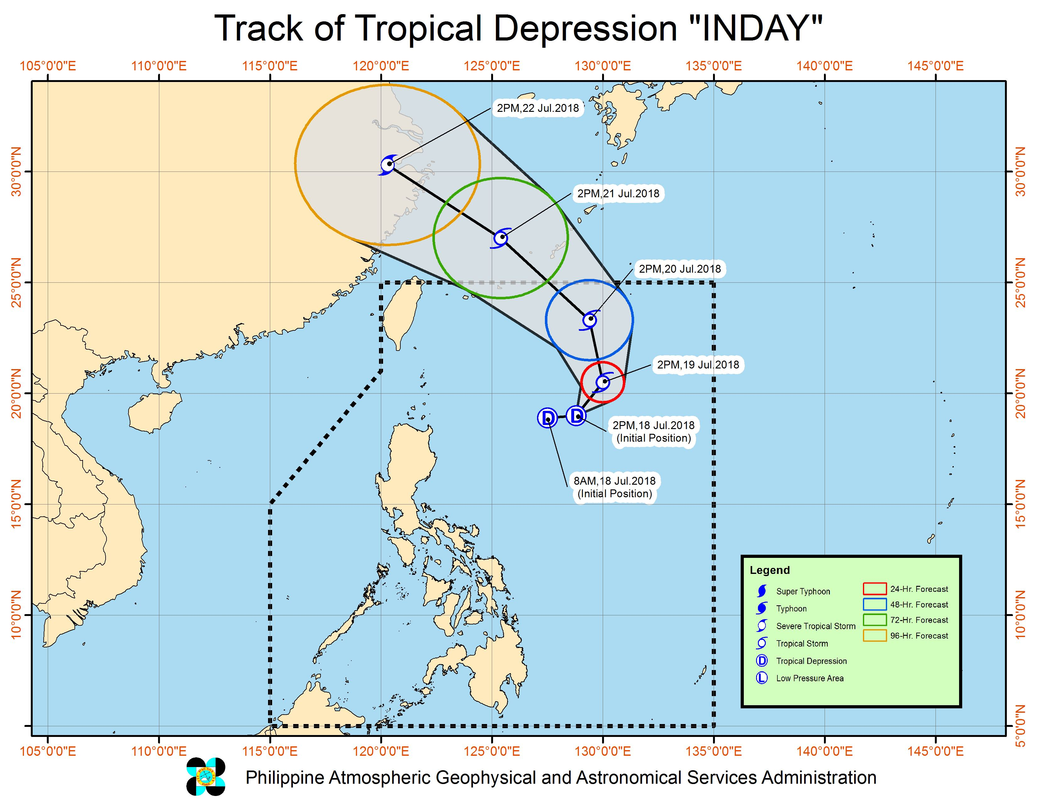 Forecast track of Tropical Depression Inday as of July 18, 2018, 5 pm. Image courtesy of PAGASA