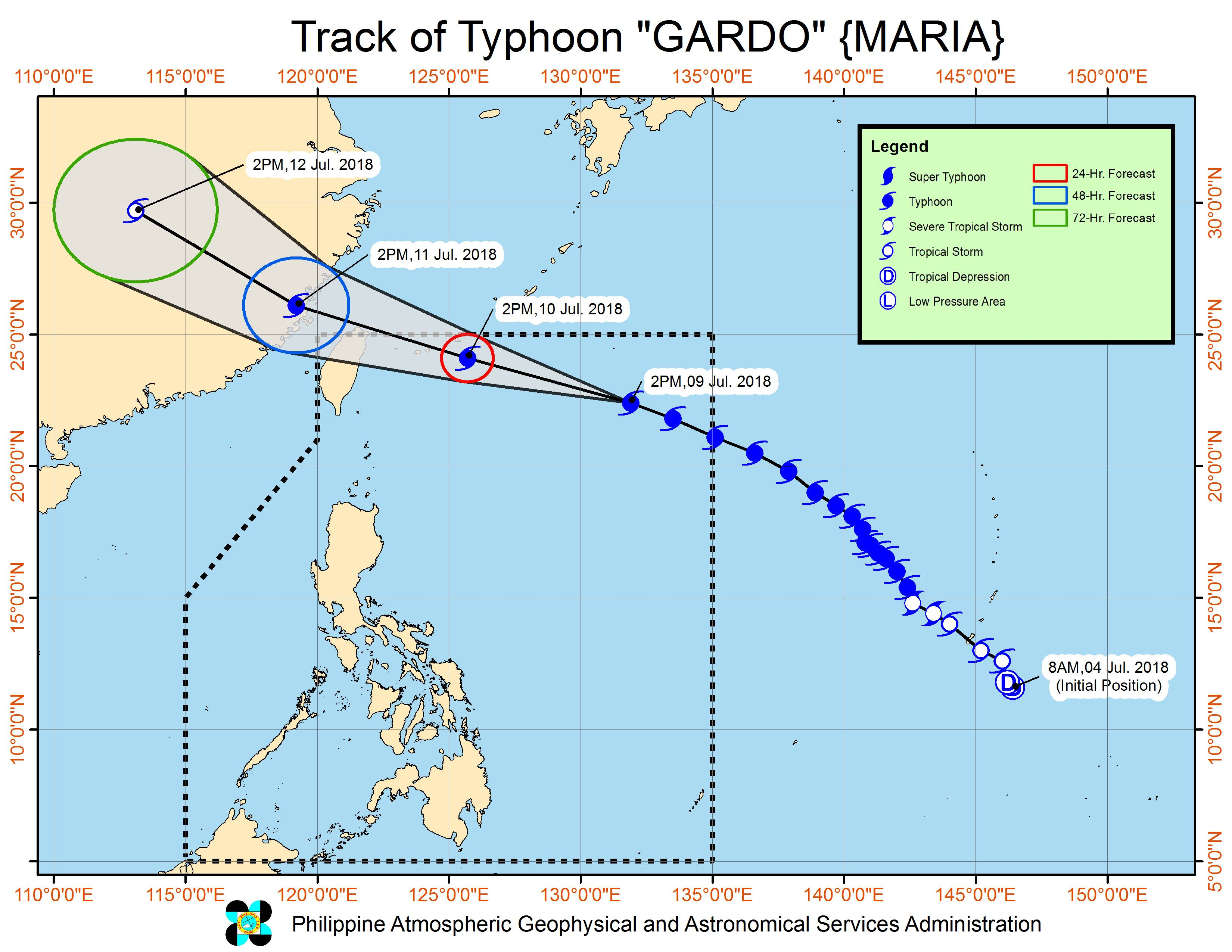 Forecast track of Typhoon Gardo (Maria) as of July 9, 2018, 5 pm. Image courtesy of PAGASA