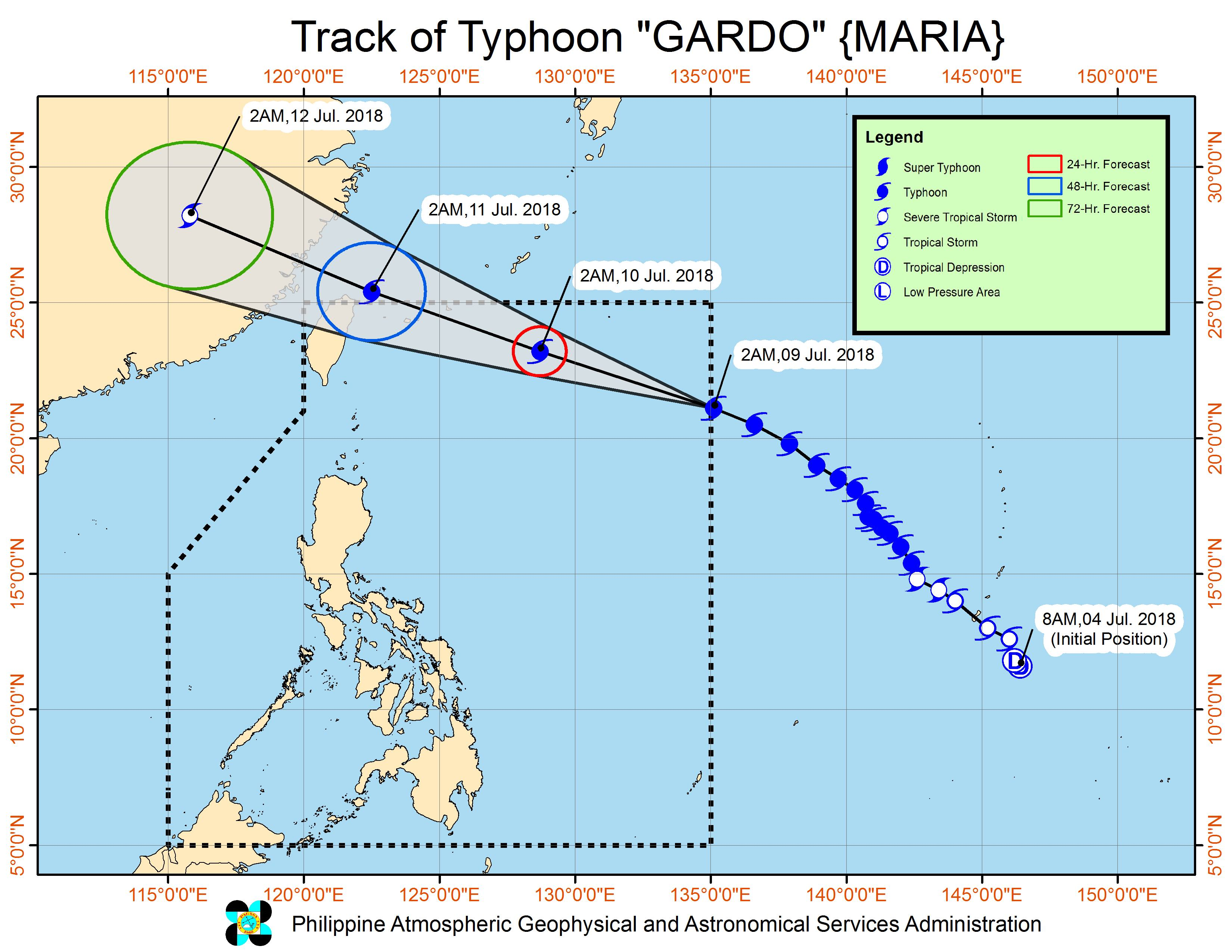 Forecast track of Typhoon Gardo (Maria) as of July 9, 2018, 5 am. Image courtesy of PAGASA