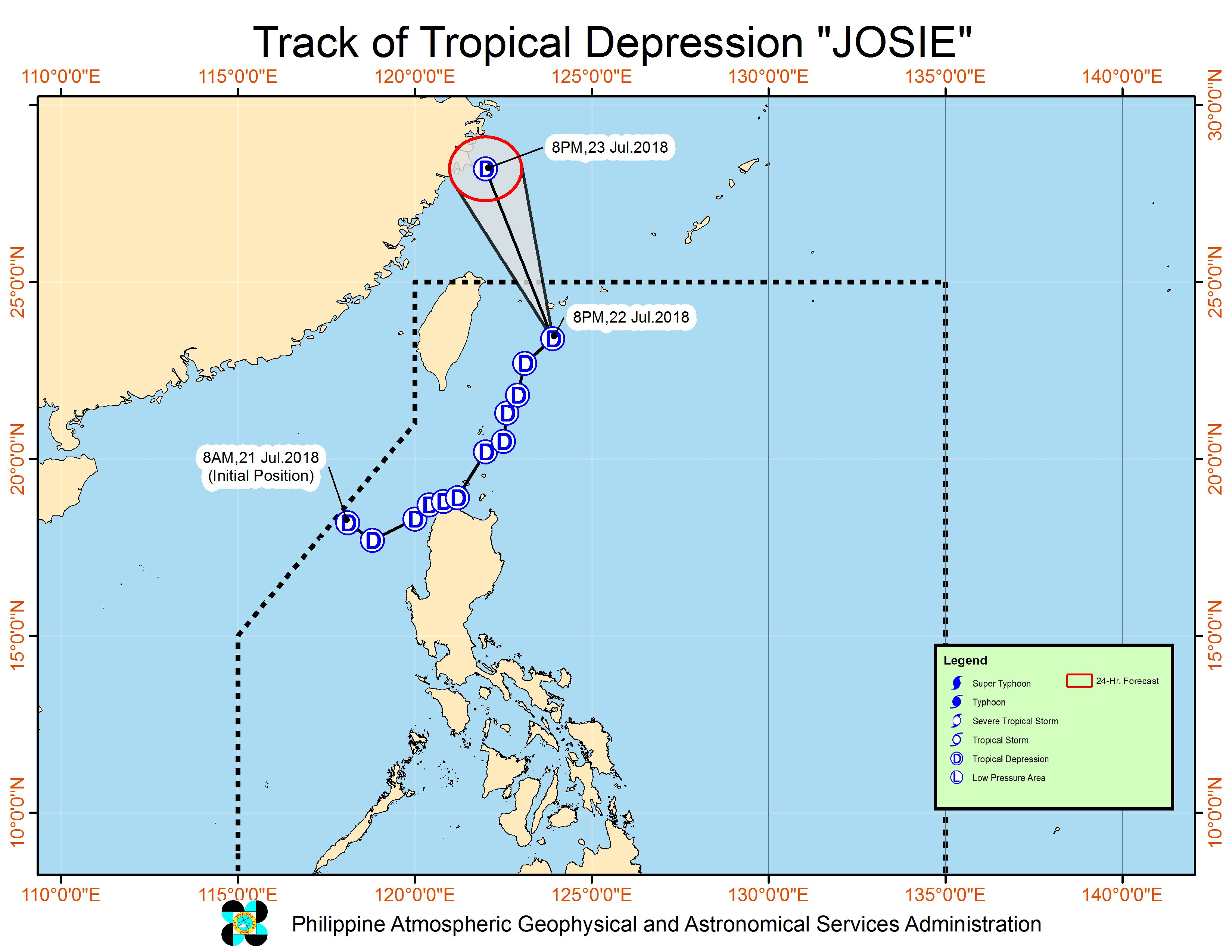 Forecast track of Tropical Depression Josie as of July 22, 2018, 11 pm. Image courtesy of PAGASA