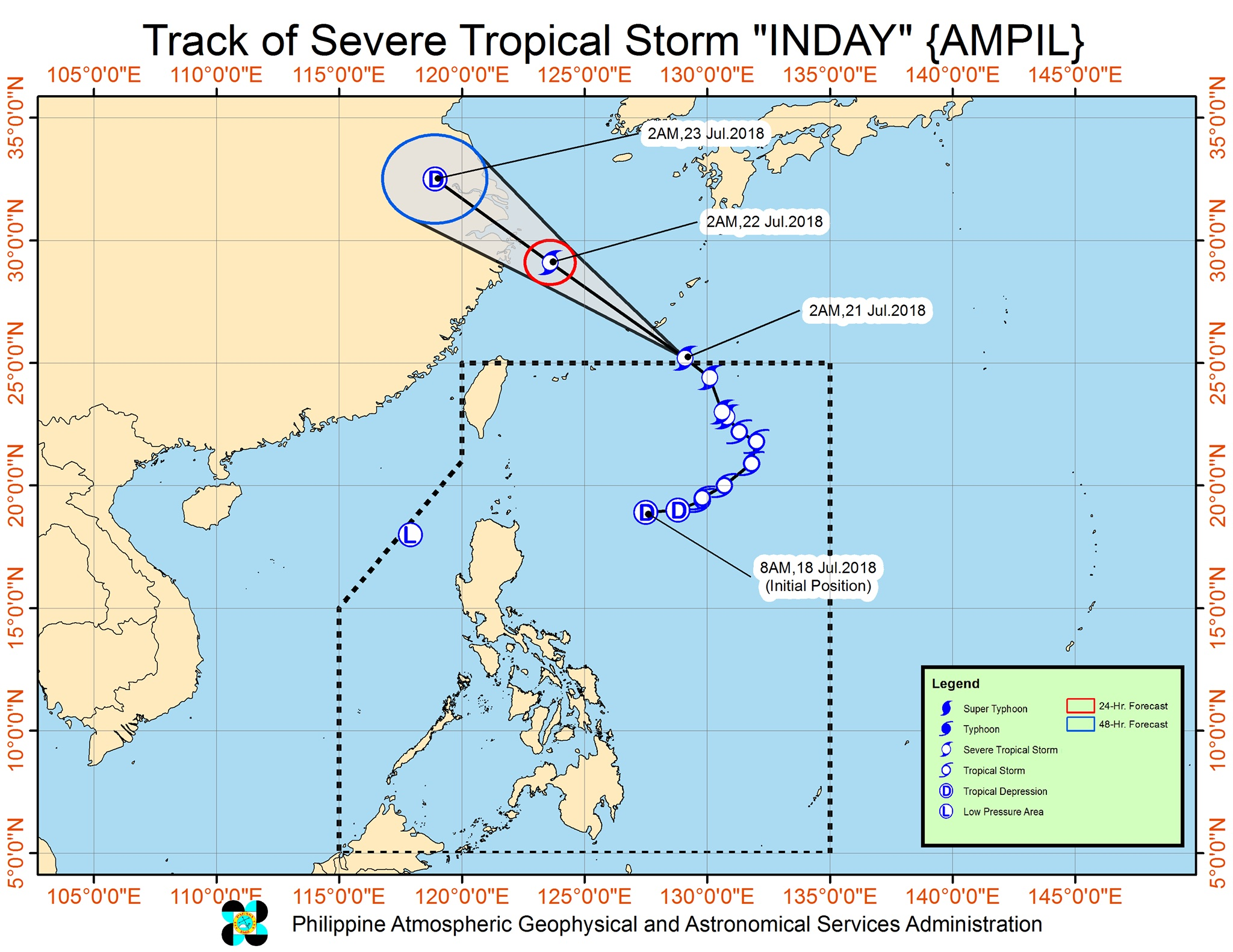Forecast track of Severe Tropical Storm Inday (Ampil) as of July 21, 2018, 5 am. Image courtesy of PAGASA