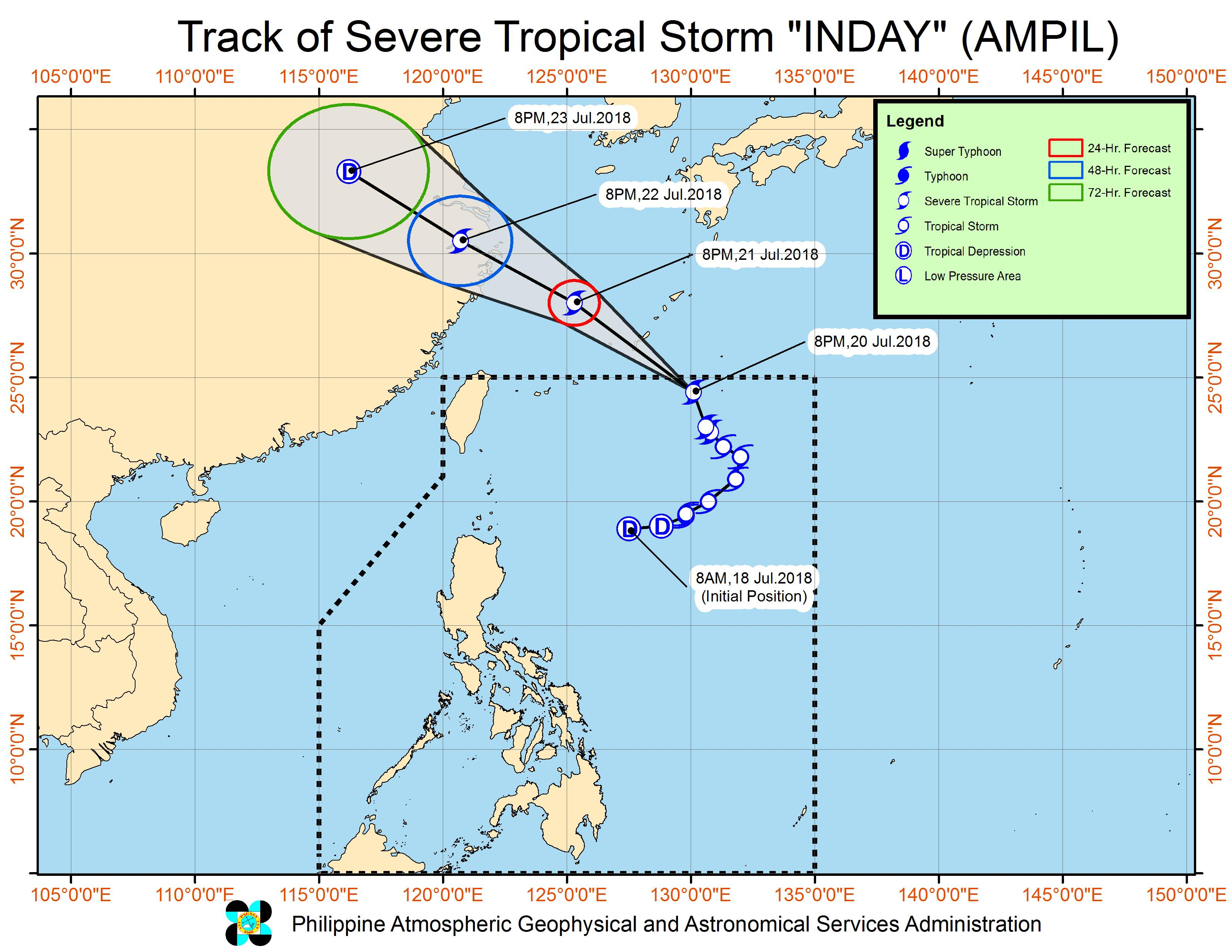 Forecast track of Severe Tropical Storm Inday (Ampil) as of July 20, 2018, 11 pm. Image courtesy of PAGASA