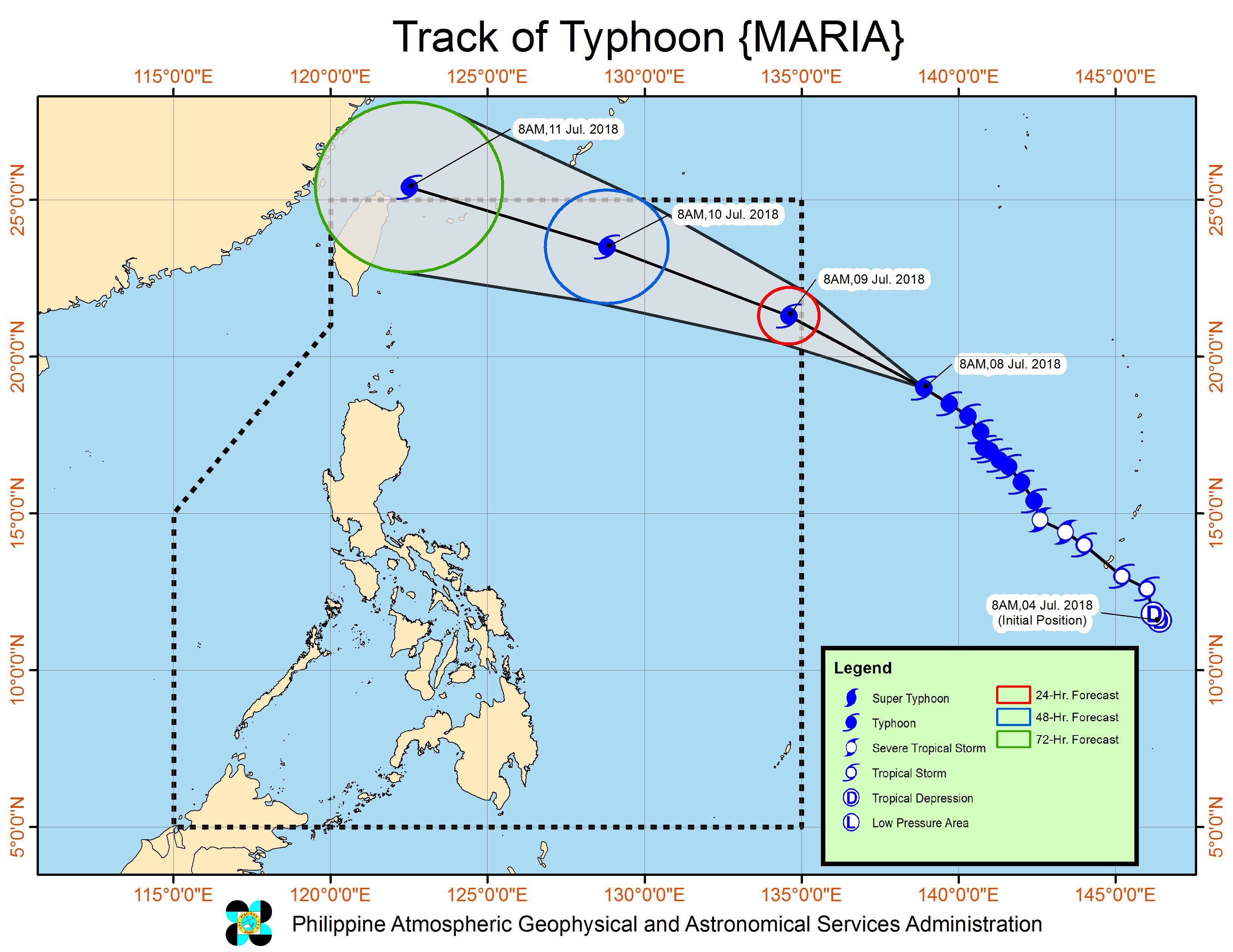 Forecast track of Typhoon Maria as of July 8, 2018, 11 am. Image courtesy of PAGASA