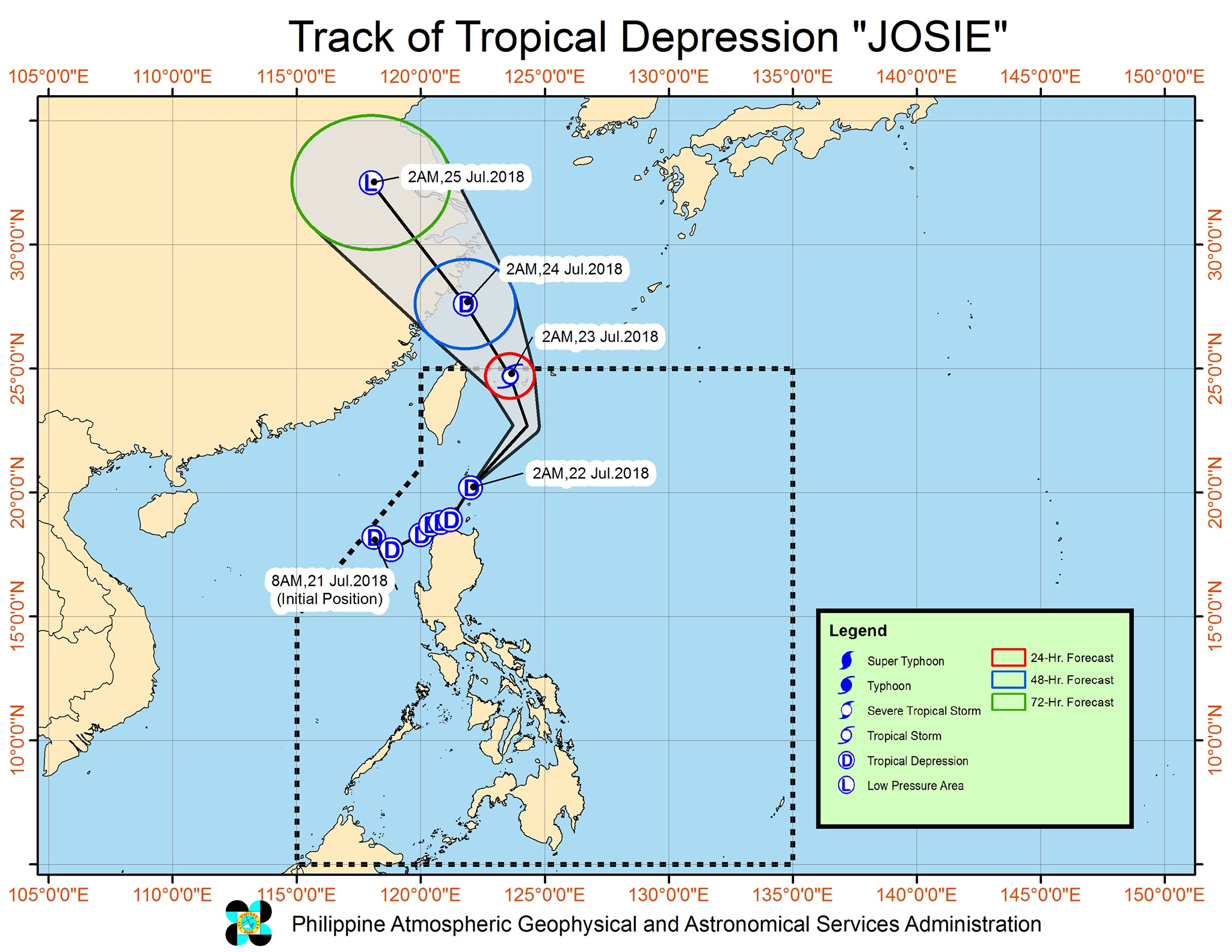 Forecast track of Tropical Depression Josie as of July 22, 2018, 5 am. Image courtesy of PAGASA