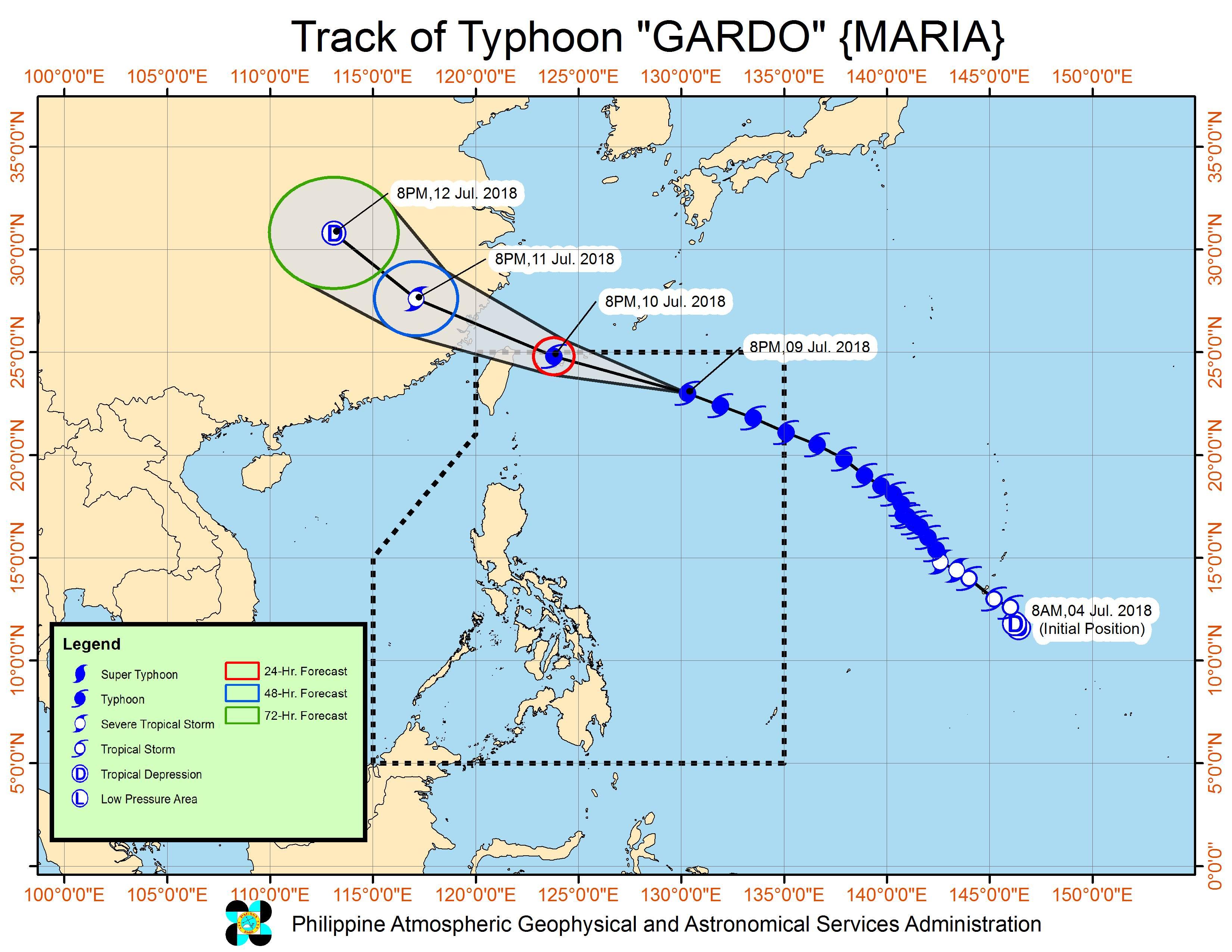 Forecast track of Typhoon Gardo (Maria) as of July 9, 2018, 11 pm. Image courtesy of PAGASA