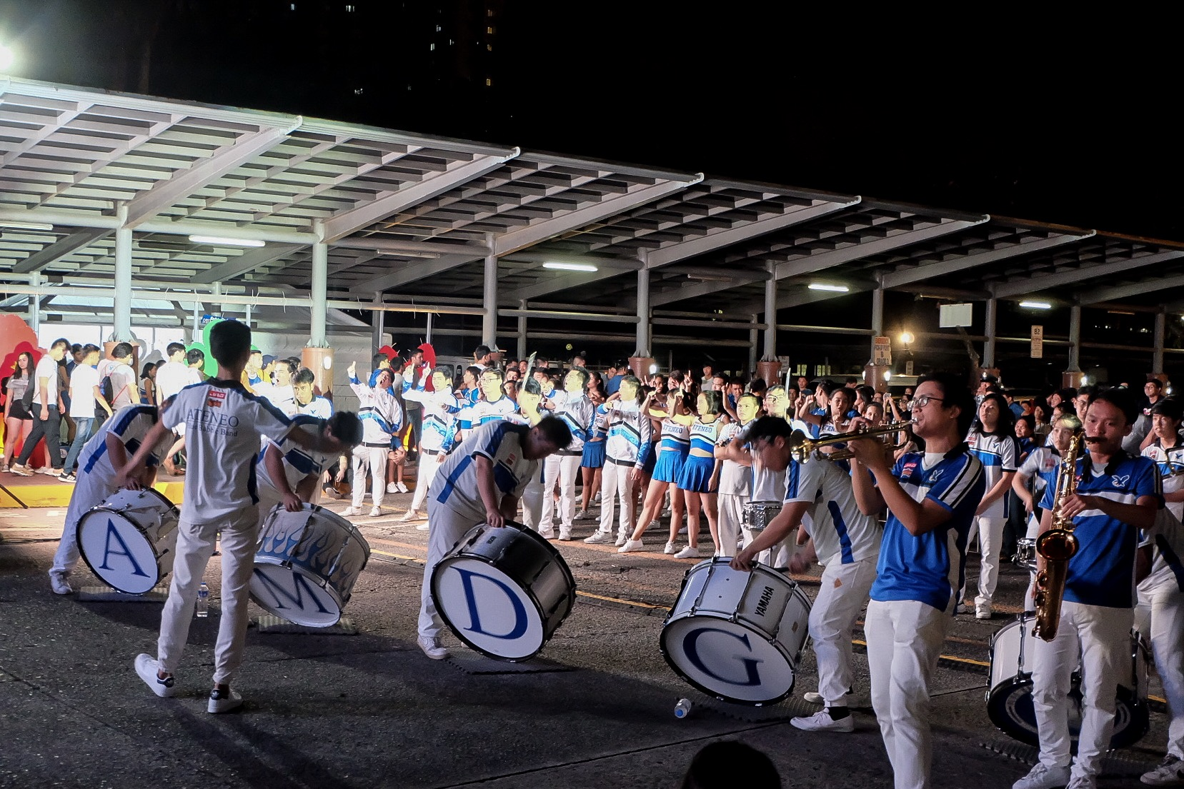 AMDG. The Ateneo Blue Babble Battalion makes fans of the blue and white feel at home. Photo by Beatrice Go/Rappler