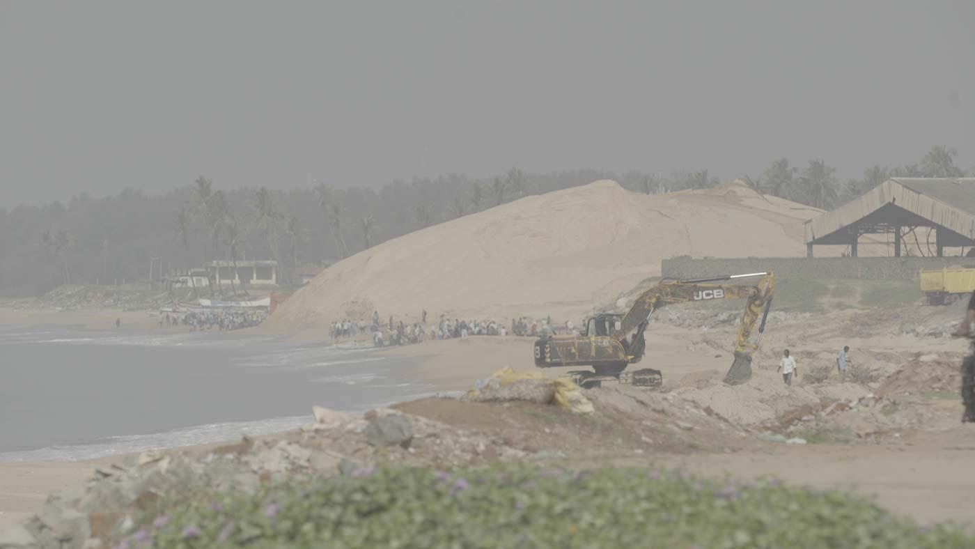 MINING RAMPANT. Sand mined at IREL (Indian public company) in Manavalakurichi, Tamil Nadu. Photo courtesy of Forbidden Stories