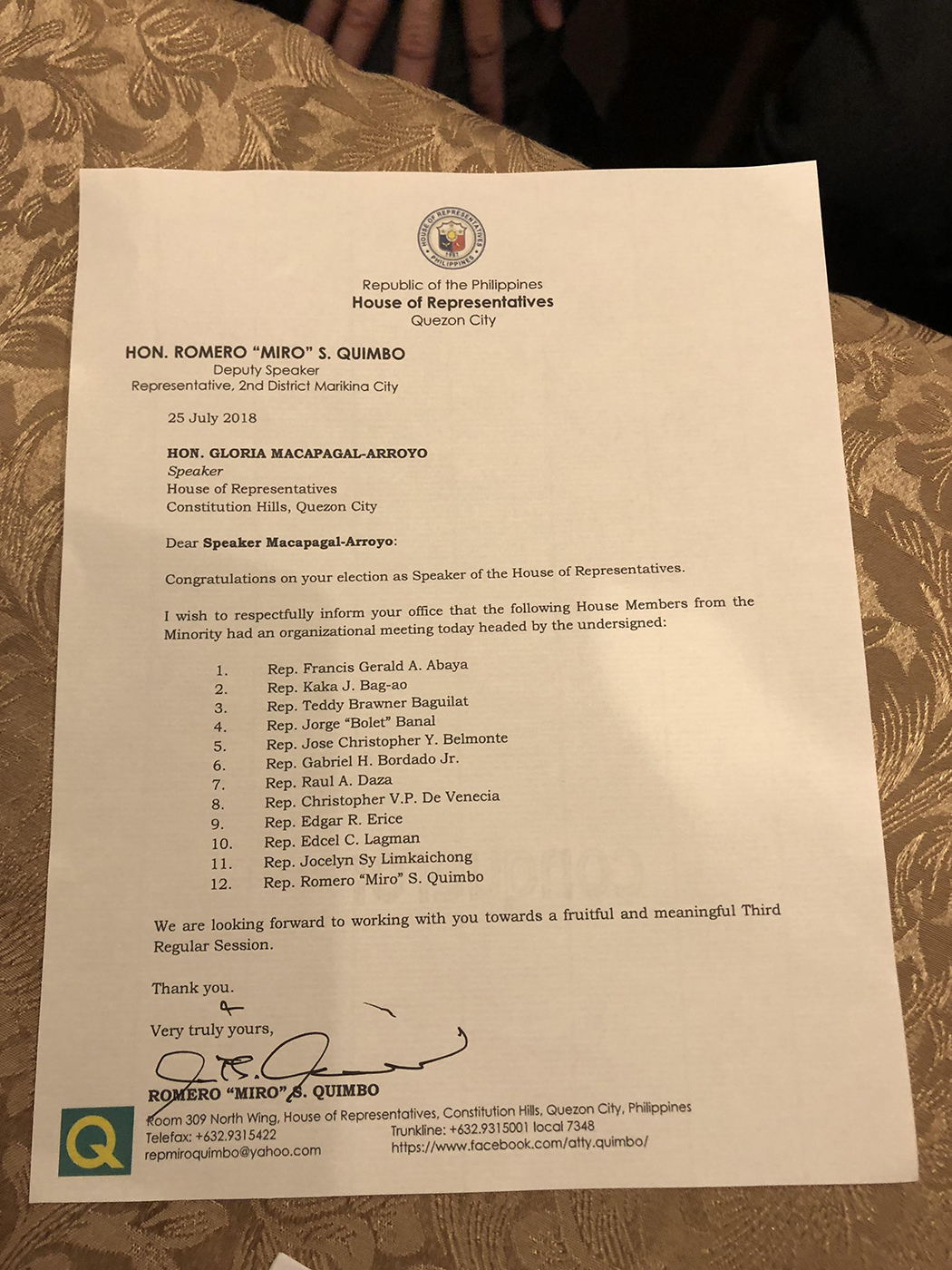 LETTER TO ARROYO. The 12 Liberal Party lawmakers sent this letter to new House Speaker Gloria Macapagal Arroyo. Photo by Mara Cepeda/Rappler