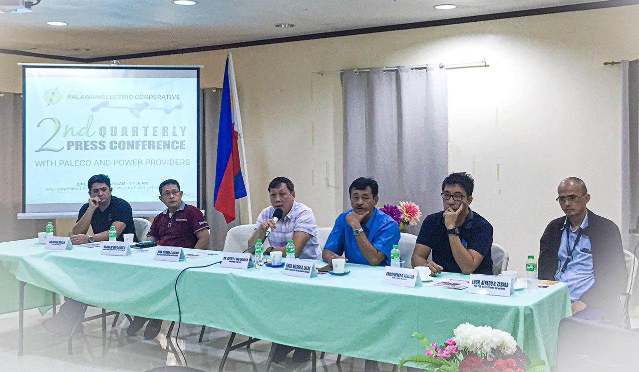 PALAWAN OUTAGES. Paleco officials and independent power provider representatives explain the causes of power interruptions in a press conference on Wednesday, June 26. Photo by Keith Anthony S. Fabro