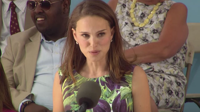 Natalie Portman delivering her speech to the graduating batch of 2015 at Harvard University last May. Screengrab from YouTube/Harvard University