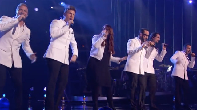 GREATEST HITS. Meghan Trainor joins the Backstreet Boys during a performance of 'I Want It That Way' on ABC's 'Greatest Hits.'  Screengrab from YouTube/ The Dark Side Of Backstreet