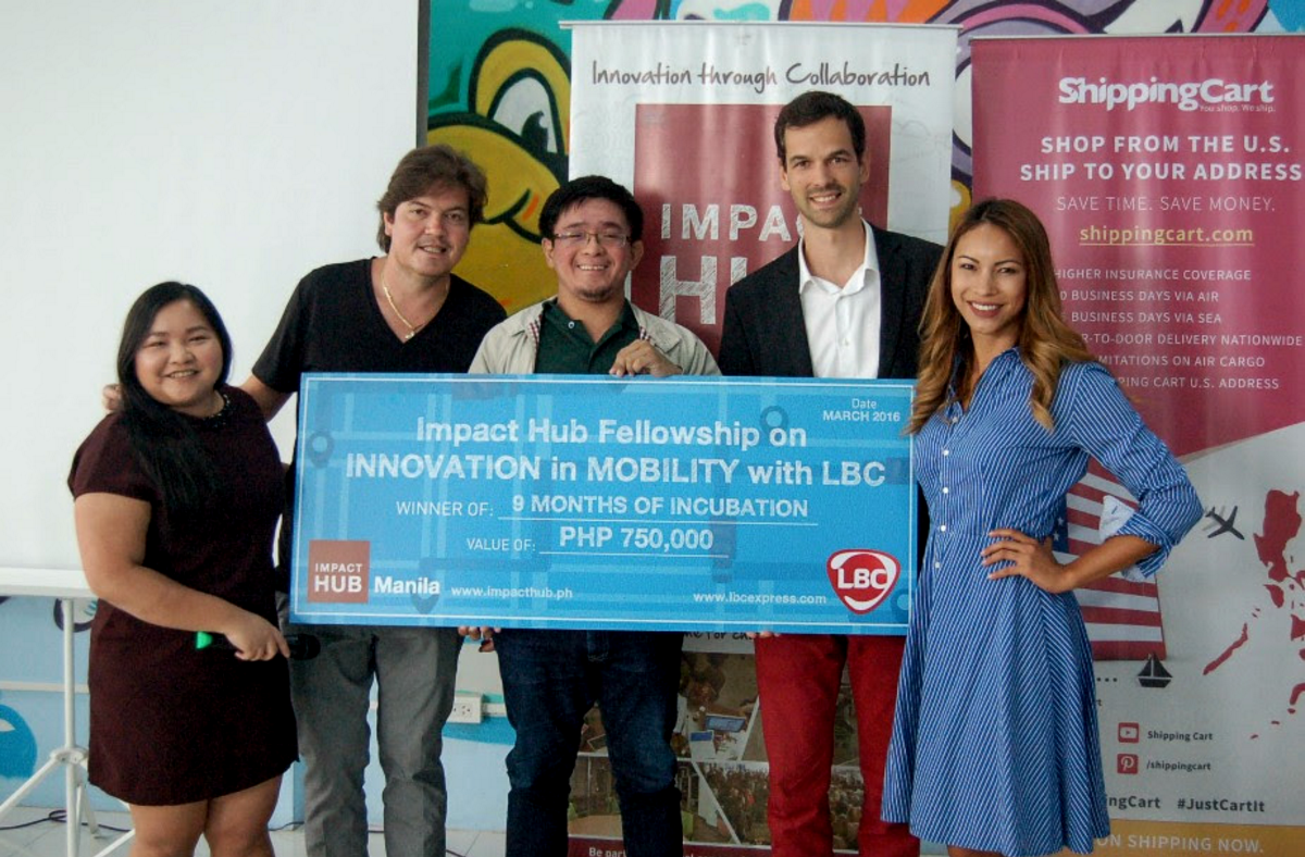 FACILITATING MOVEMENT. 'When we came in we saw that they had intense knowledge on the science part, but not really on the business side. It's very easy for us to trust them because they have already shown their proof of concept and now we and LBC can help them with the business side,' says Kuster.  (from left) Impact Hub Manila co-founders Ces Dondario, Matthias Jaeggi, Skyeye's Matthew Cua, LBC chief innovation officer Dino Araneta, and LizAn Kuster. Photo courtesy of Impact Hub Manila