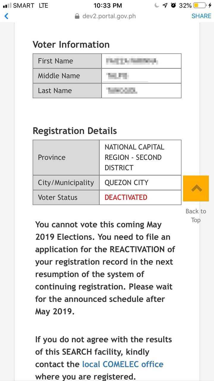 ERROR. A voter shows a photo of the Comelec's precinct finder listing her as 'deactivated' despite participating in the 2016 elections. Sourced photo