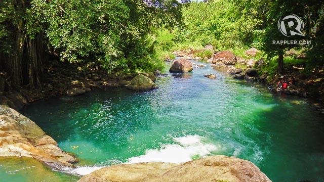 GREEN POOLS. Tinago cascades into vivid green pools like this.