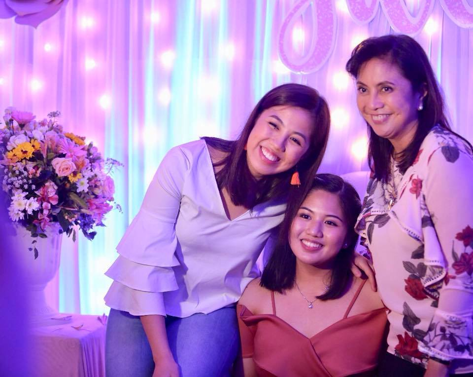 THE DEBUTANTE. Jillian Robredo (middle) poses with her sister Tricia and their mother, Vice President Leni Robredo, during Jillian's debut on March 3, 2018. All photos from VP Robredo's Facebook account