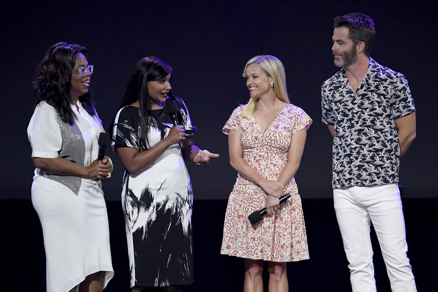 'A WRINKLE IN TIME.' Oprah Winfrey, Mindy Kaling, Reese Witherspoon, and Chris Pine at D23 Expo 2017. Photo by Disney/Image Group LA