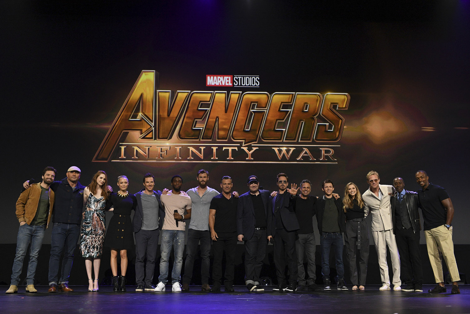 'INFINITY WAR.' The stars of 'Avengers: Infinity War' come together at D23 EXPO 2017. From left to right: Sebastian Stan, Dave Bautista, Karen Gillan, Pom Klementieff, Benedict Cumberbatch, Chadwick Boseman, Chris Hemsworth, Josh Brolin, Marvel Studios President Kevin Feige, Robert Downey Jr, Mark Ruffalo, Tom Holland, Elizabeth Olsen, Paul Bettany, Don Cheadle, and Anthony Mackie. Photo by Disney/Image Group LA