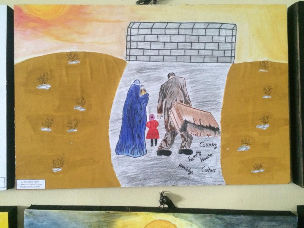 KEHILANGAN. Lukisan Muhaddisa Naemi, gadis 12 tahun asal Afghanistan yang juga sedang mencari suaka. Lukisan ini menggambarkan seorang keluarga pengungsi yang berjuang untuk menuju negara yang lebih baik. Foto oleh Febriana Firdaus/Rappler