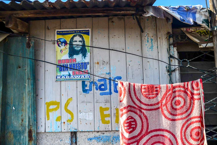 ALL AROUND. A poster of Ben Kristo running as garangay kagawad is seen on one of the houses in Purok 6, San Pedro Cutud.
