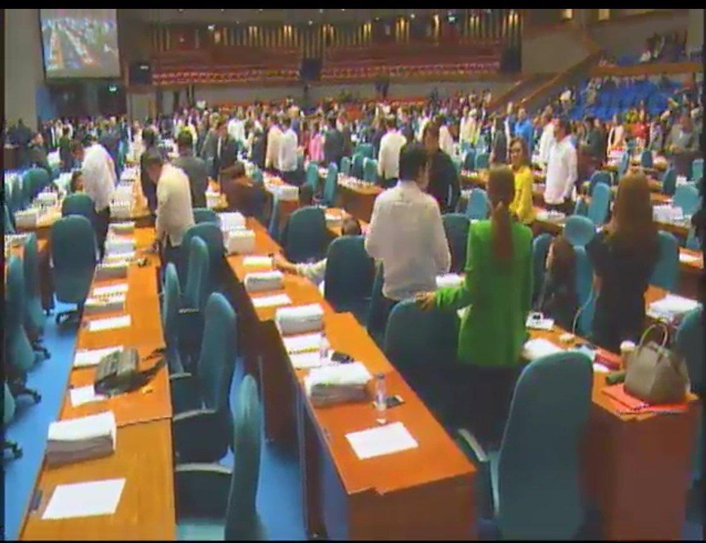 SLASH THE BUDGET. Legislators in favor of slashing the CHR budget stand to be recognized during viva voce voting on September 12, 2017. Screengrab from the House livestream