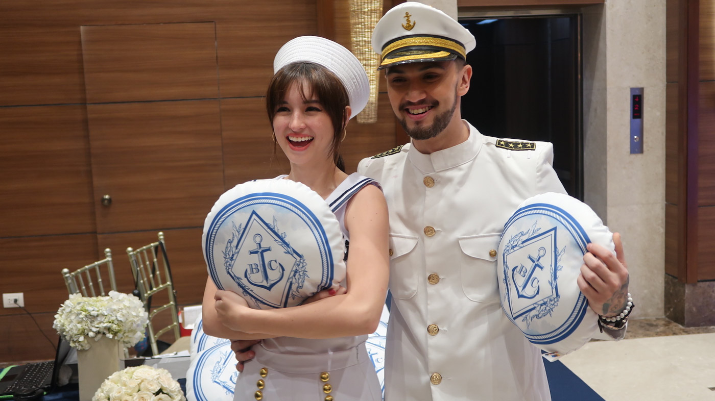 NAUTICAL. Billy and Coleen with their giveaways at the party.