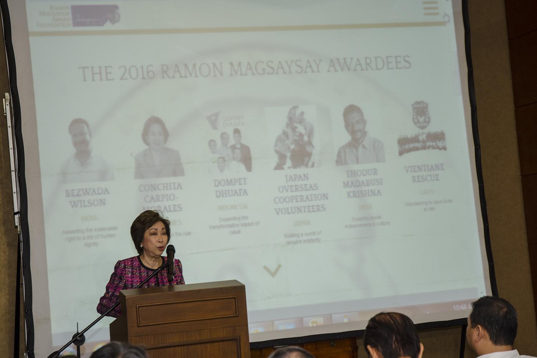 HONOREES. RMAF president Carmencita Abella announces the 2016 Ramon Magsaysay Awardees, July 27, 2016. Photo by Rob Reyes/Rappler