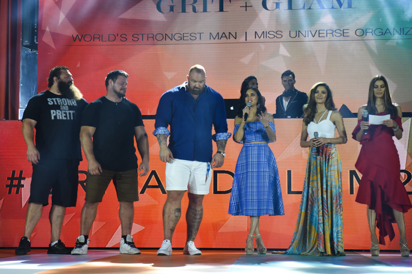 THANK YOU. The queens and the World's Strongest Man finalists say thank you to everyone during the show.