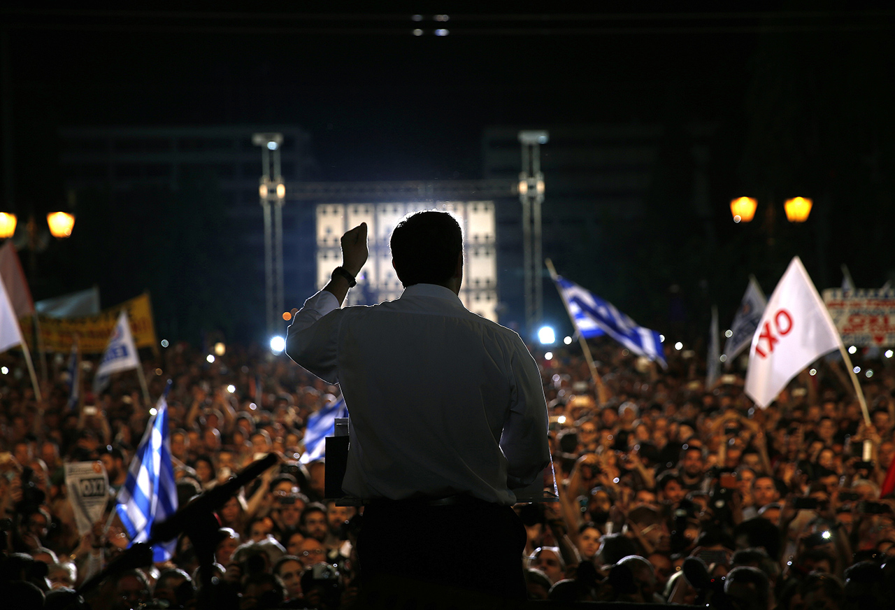 YES OR NO? Greek Prime Minister Alexis Tsipras addresses supporters of a 'NO' voting in the Prime Minister's referendum on bailout terms to be held on July 5, at Syntagma Square in Athens, Greece, July 3, 2015. Photo by Yannis Behrakis/POOL/EPA