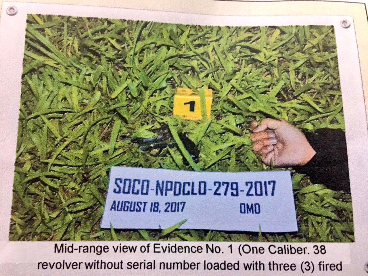 'EVIDENCE.' A police handout photo of the evidence recovered at the crime scene. No bullet slugs were found. Photo from PNP