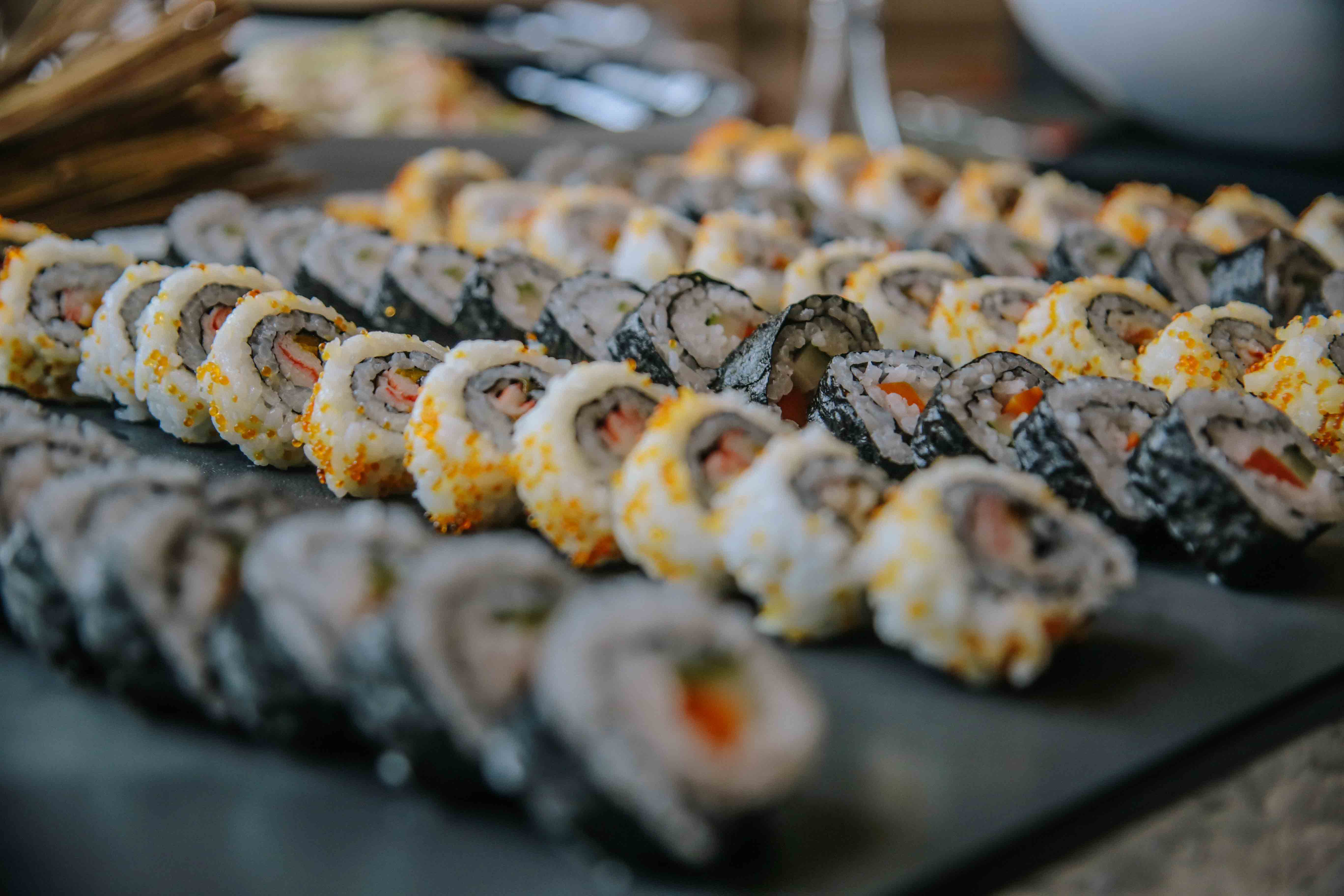 Sushi rolls in the antipasti section. Photo by Paolo Abad/Rappler