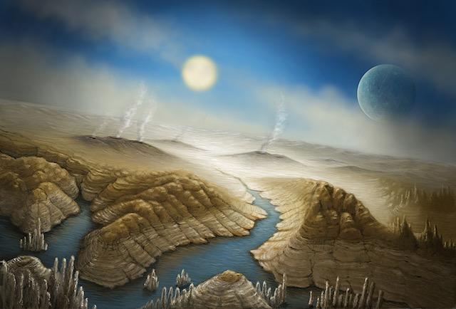 LIKE EARTH. Artist impression of the surface of Kepler 452b. Illustration courtesy SETI Institute/Danielle Futselaar