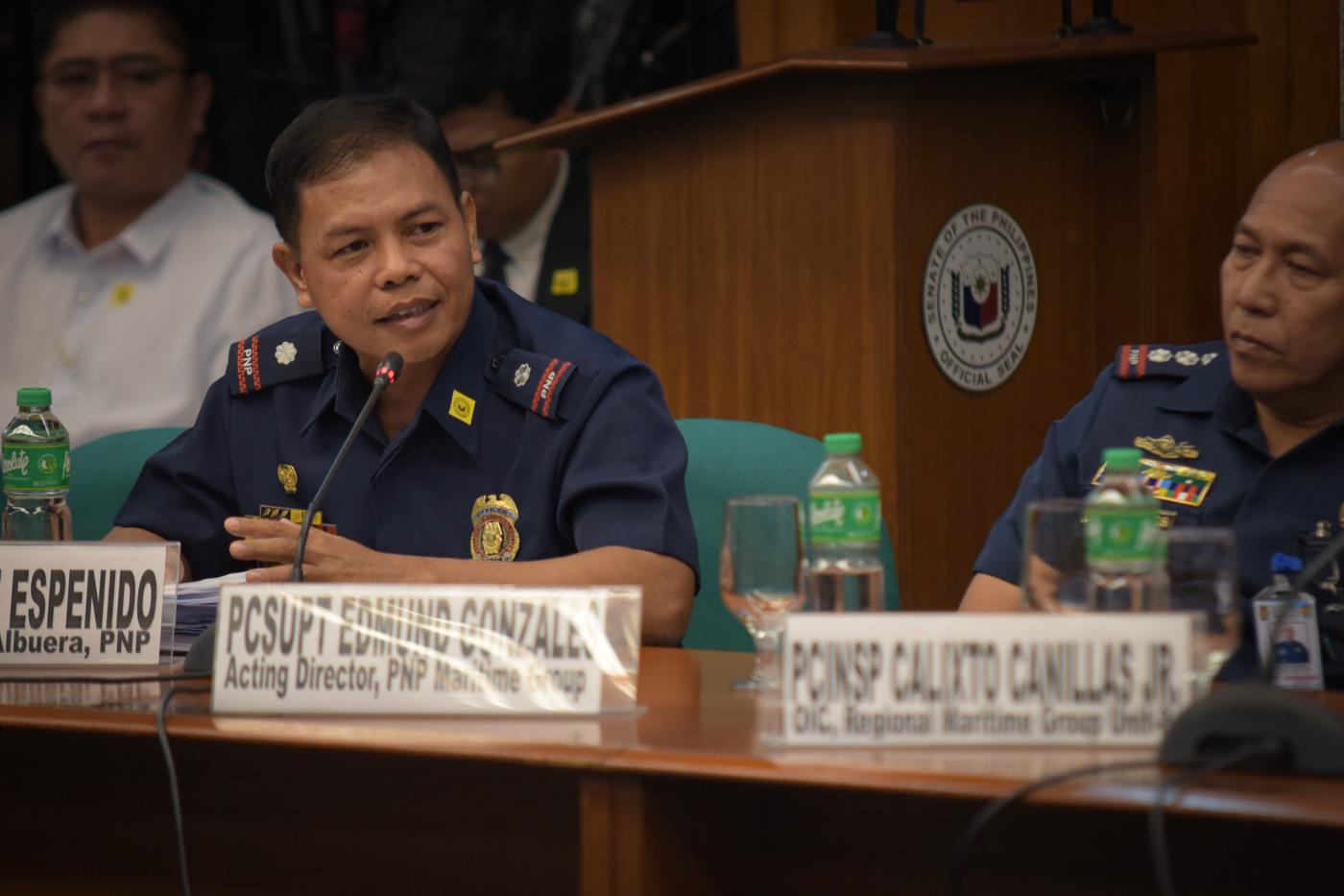 MAN OF GOD. Police Chief Inspector Jovie Espenido testifies in the Senate. Photo by LeAnne Jazul/Rappler