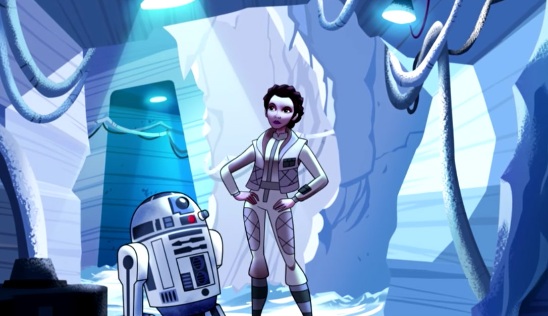 Princess Leia art concept. Screengrab from YouTube/ Disney