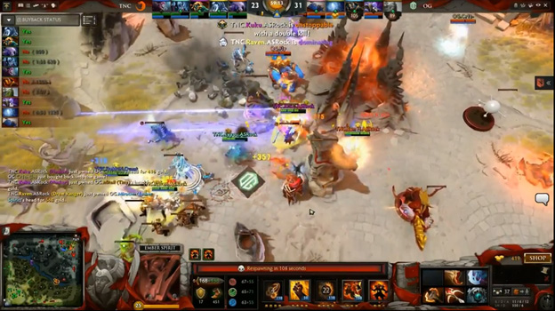 Miracleu2019s Ember Spirit dies and drops his Rapier u2013 and with it, OGu2019s hopes and dreams. Screenshot from live stream.