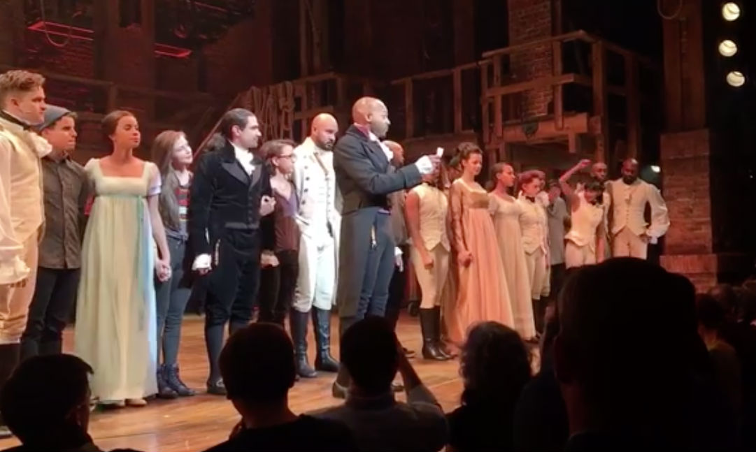 DIVERSE CAST. 'Hamilton' actor Brandon Dixon calls reads the message from the cast to US Vice President-elect Mike Pence, who was present to watch the show in New York. Screengrab from Facebook/Hamilton:An American Musical