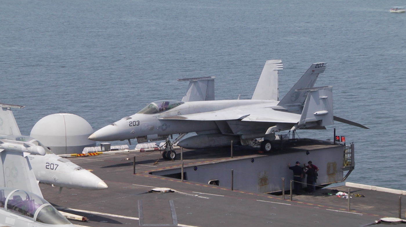 AIRCRAFT CARRIER. The USS Carl Vinson carries up to 72 aircraft, mostly fighter jets. Rappler photo
