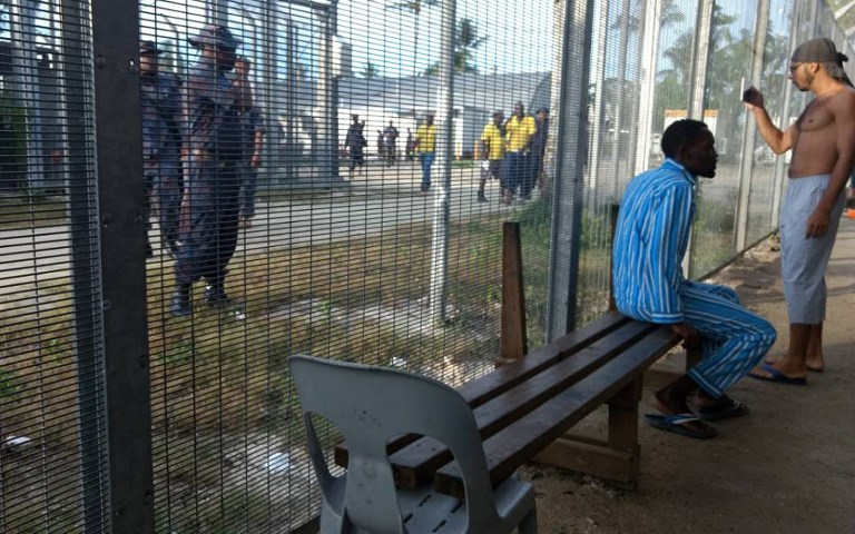 FENCED OFF. This handout photo taken by Abdul, a refugee on Manus, and released to the media by Australian activist group GetUp on November 23, 2017 shows asylum-seekers (R) at the Manus Island regional refugee processing centre. GetUp/Handout/AFP