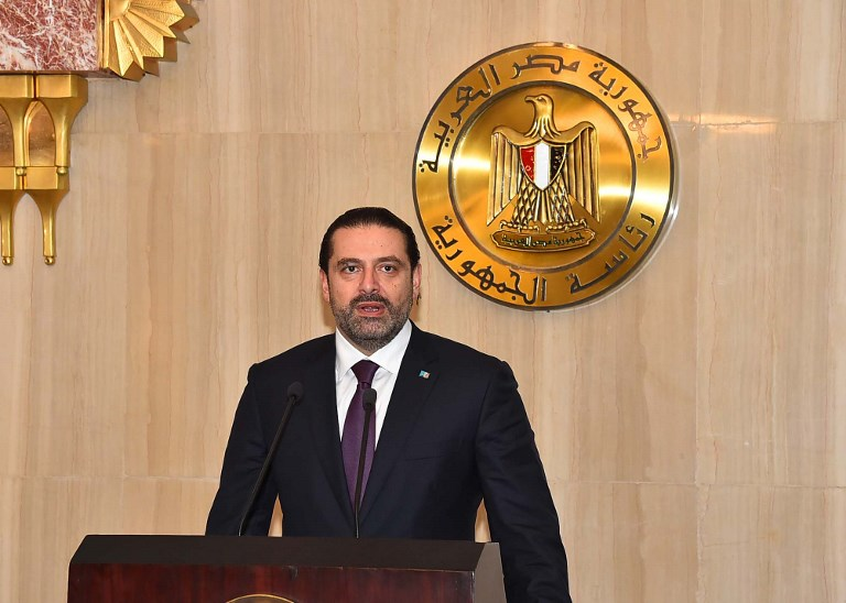 LEBANON ROW. This handout picture released by the Egyptian Presidency on November 21, 2017 shows Lebanese Prime Minister Saad Hariri delivering a speech following a meeting with the Egyptian President in Cairo. File photo by Egyptian Presidency/Handout/AFP