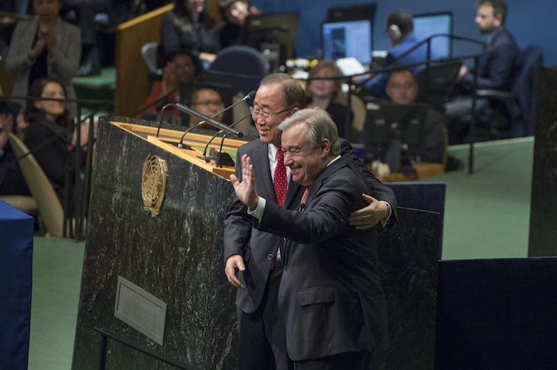 OLD AND NEW. Antonio Guterres, UN Secretary-General-designate of the United Nations, with Secretary-General Ban Ki-moon after taking the oath. Eskinder Debebe/UN Photo