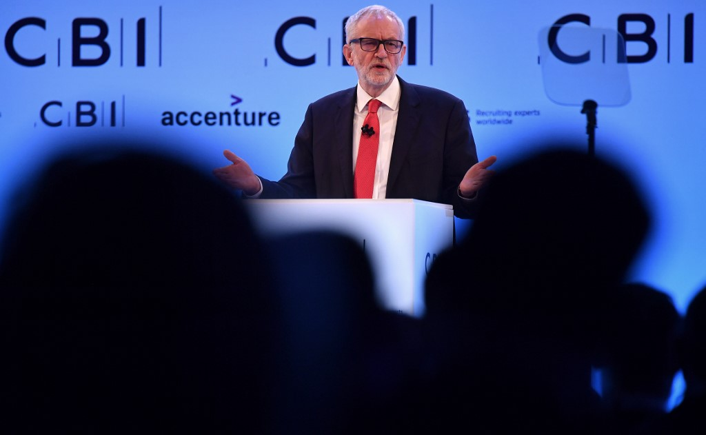 WOOING BUSINESS. Britain's Labour Party leader Jeremy Corbyn speaks at the annual Confederation of British Industry (CBI) conference in central London, on November 18, 2019. Photo by Ben Stansall/AFP