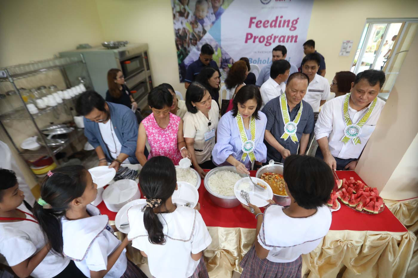 LIVELIHOOD ASSISTANCE. Vice President Leni Robredo in August 2018 turns over kitchen tools and equipment to Lourdes National High School in Panglao, Bohol, for its feeding program and vocational course. The assistance is under the OVPu2019s Angat Buhay program.