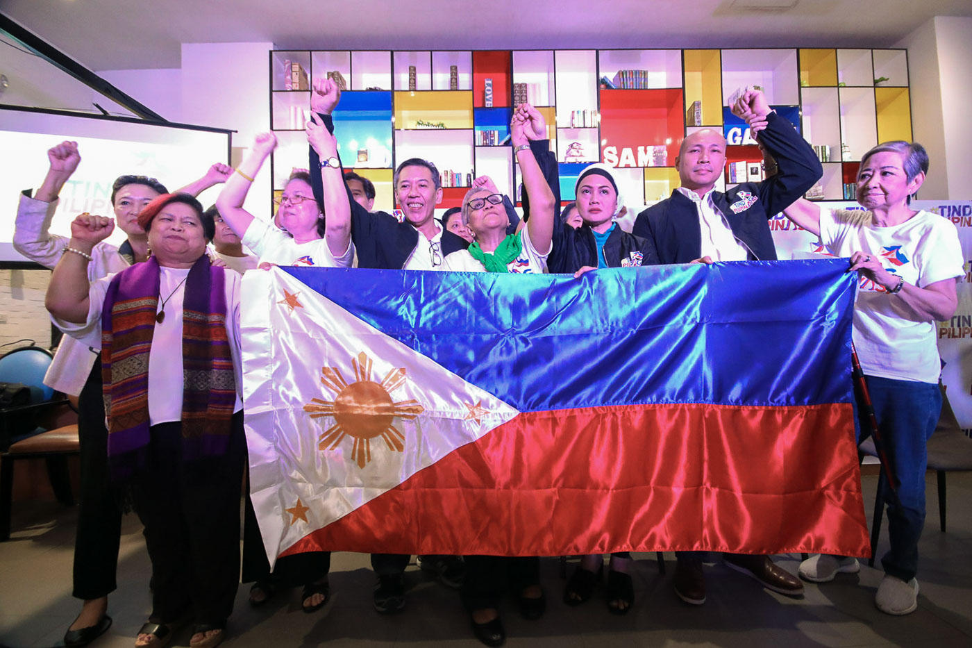 IN TIME FOR POLLS. Tindig Pilipinas endorses senatorial bets, Magdalo Rep. Gary Alejano, Bangsamoro leader Samira Gutoc Tomawis, and La Salle College of Law dean Atty. Jose Manuel u00e2u0080u009cChelu00e2u0080u009d Diokno at a press conference in Quezon City on October 12, 2018. Photo by Darren Langit/Rappler