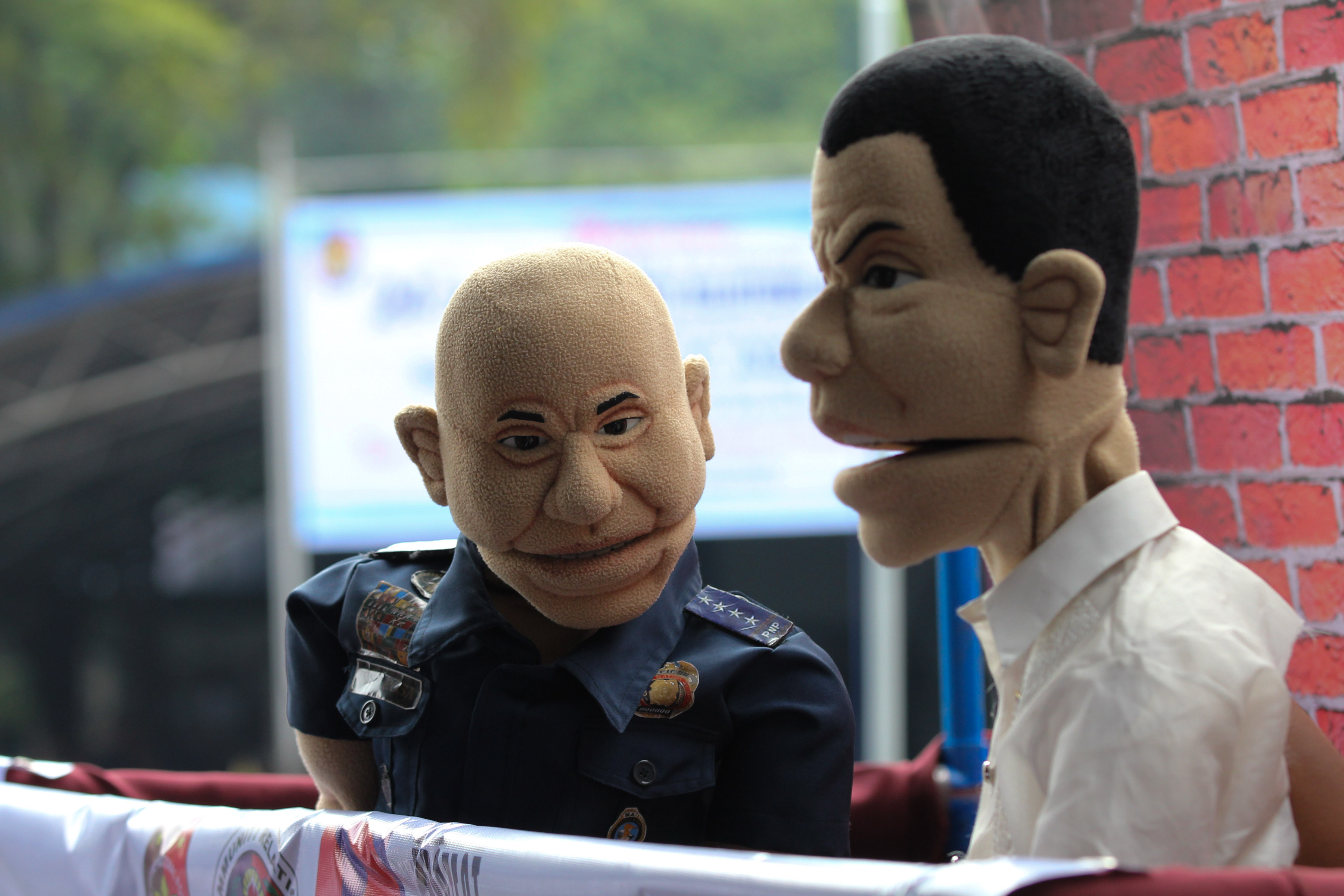 MEET THE PUPPETS. The puppet versions of PNP chief Ronald dela Rosa and President Rodrigo Duterte are introduced during the 24th founding anniversary of the Police Community Relations Group at Camp Crame on August 1, 2016. The puppets will be used for the anti-drug campaign of the PNP. Photo by Toto Lozano/PPD