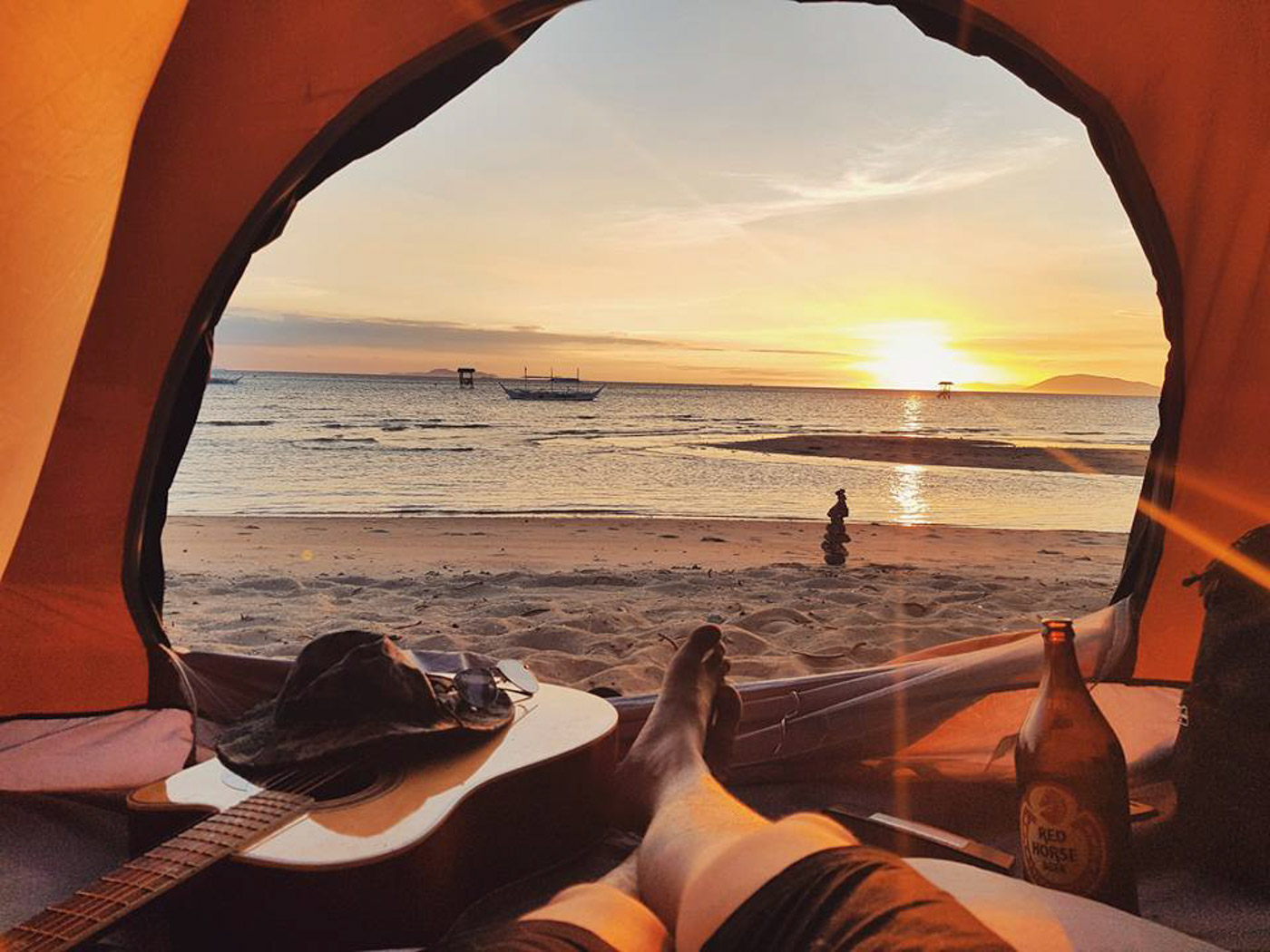 SUNSET VIEW. You can relax and enjoy the sunset from your tent or outside. Photo by Jay Vasquez