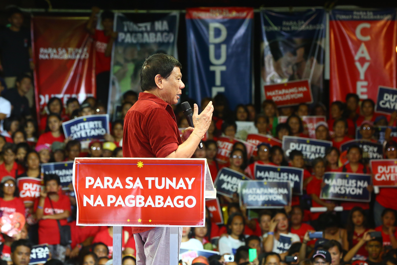 Davao City Mayor Rodrigo Duterte launch his bid for the presidency in Tondo, Manila on Feb. 9, 2016. Photo by Ben Nabong/Rappler