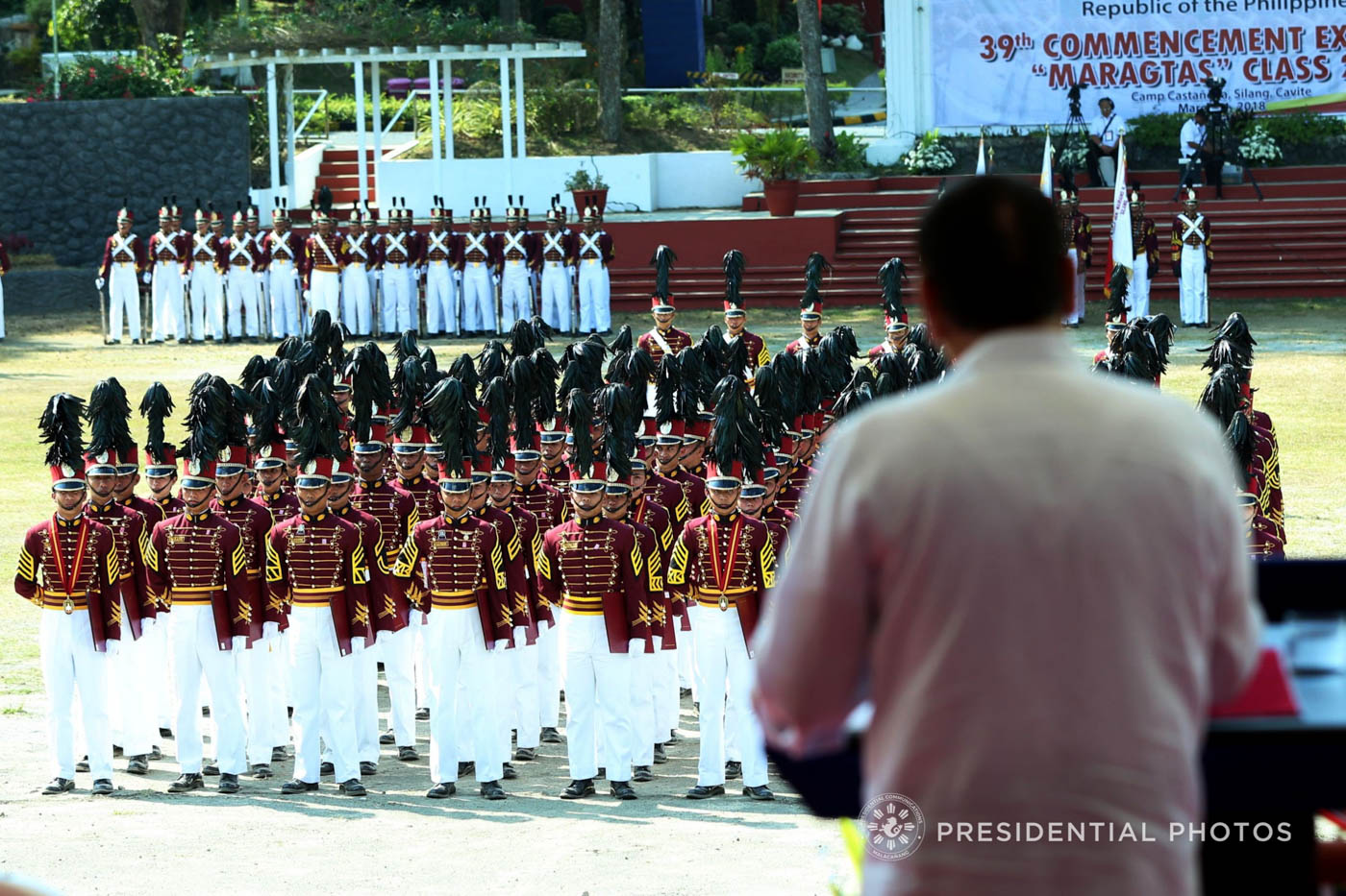 TROUBLE INSIDE PNPA. President Rodrigo Roa Duterte delivers his speech during the 39th Philippine National Police Academy (PNPA) Commencement Exercises for the 'Maragtas' Class of 2018 at Camp General Mariano N. Castau00f1eda in Silang, Cavite on March 21, 2018. Malacau00f1ang photo