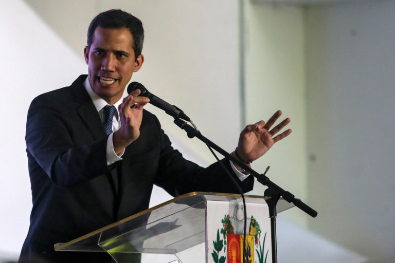 GUAIDO. In this file photo, Venezuelan opposition leader and self-proclaimed interim president Juan Guaido delivers a speech during the presentation of his national reconstruction plan 'Country Plan' in Caracas on March 28, 2019. File photo by Cristian Hernandez/AFP