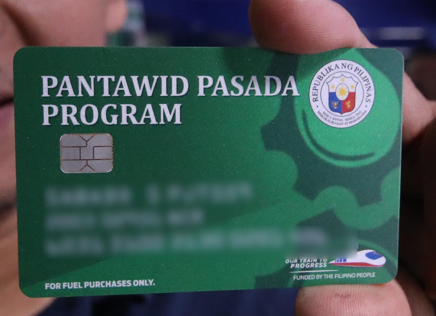 CLOSE UP. The card (details blurred) bears the complete name of the franchise holder, plate number of the PUJ, region where the franchise was registered, and the card number. Photo by Darren Langit/Rappler