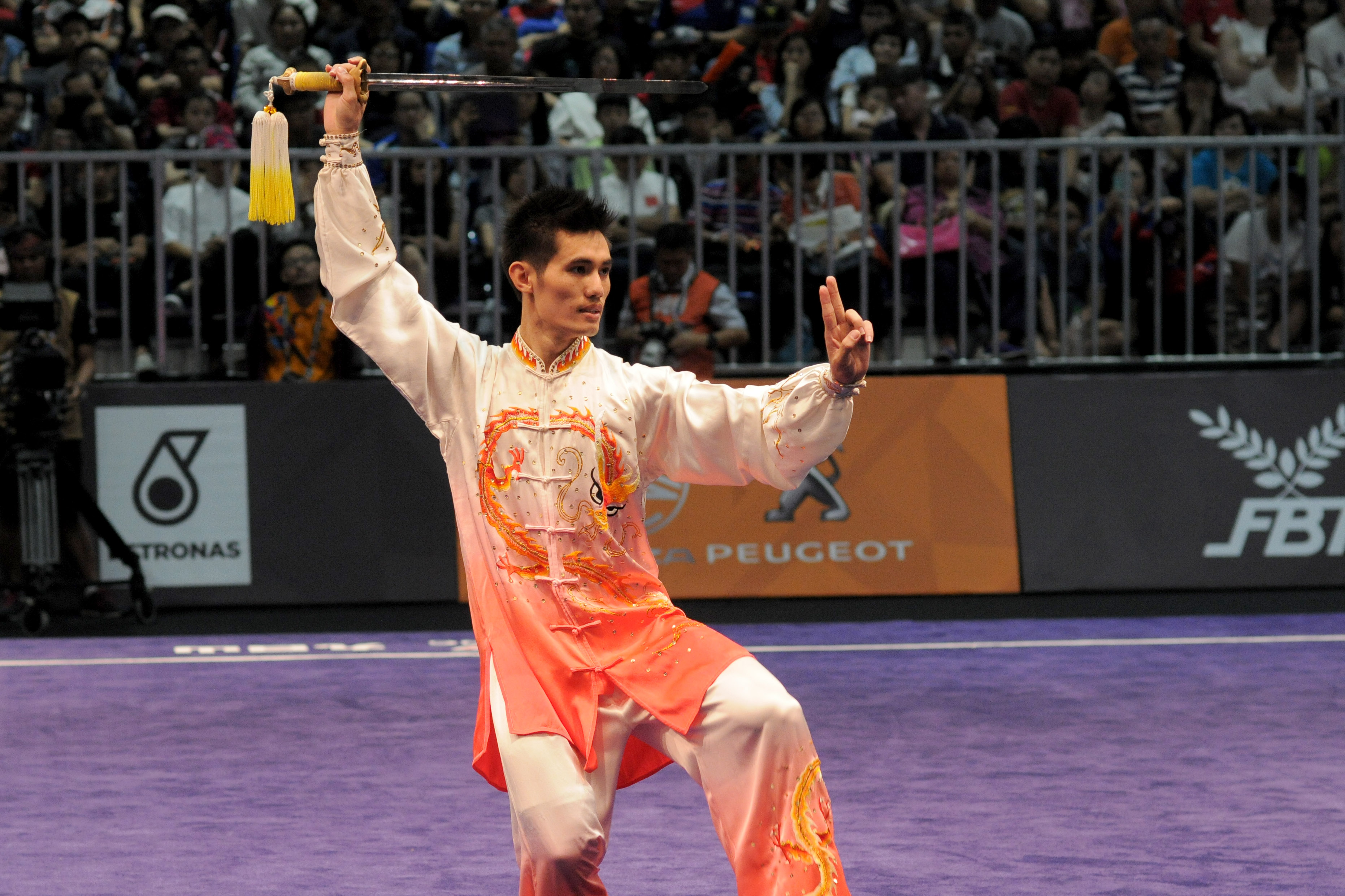 UNEXPECTED DEFEAT. Daniel Parantac unexpectedly misses out on a medal in wushu men's taijijian. Photo by Adrian Portugal/Rappler